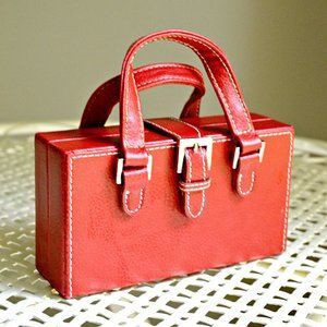 Red Leather Jewelry Travel Case